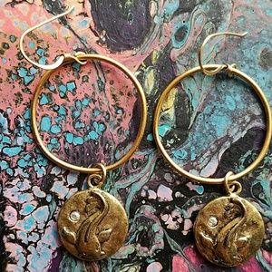 Rachel Abrams Mad Coin earrings hoops dangle gold